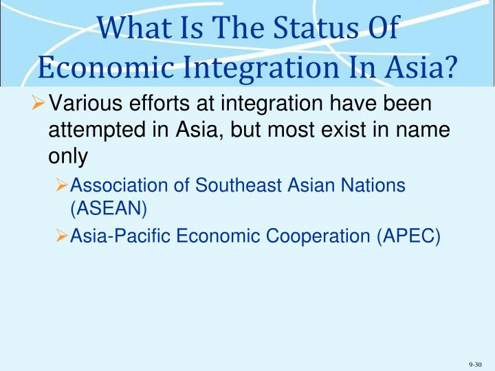 What Is The Status Of Economic Integration In Asia?