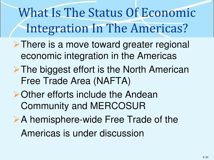 What Is The Status Of Economic Integration In The Americas?