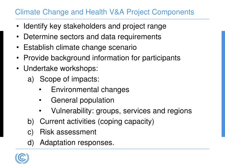 Climate Change and Health V&A Project Components