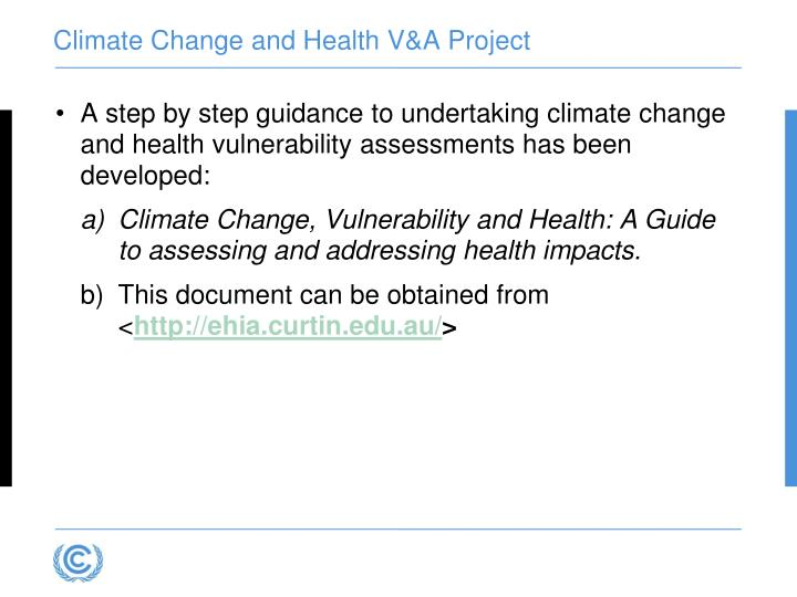 Climate Change and Health V&A Project