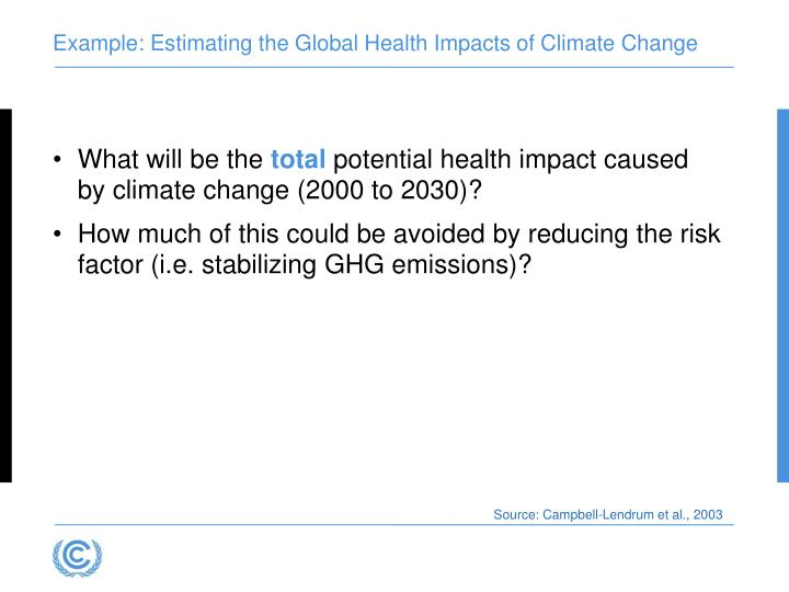 Example: Estimating the Global Health Impacts of Climate Change