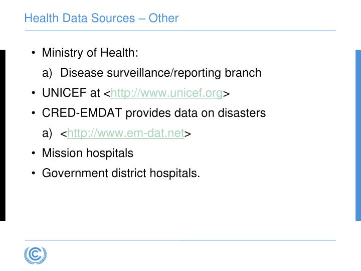 Health Data Sources – Other