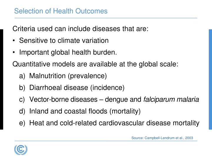 Selection of Health Outcomes