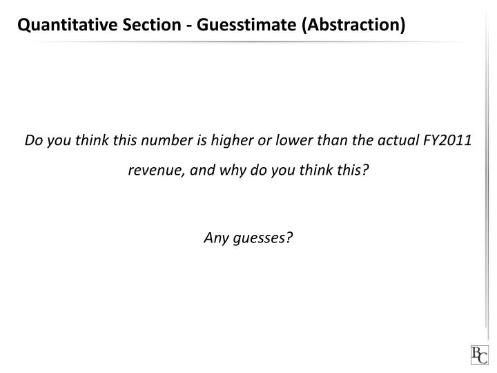 Quantitative Section - Guesstimate (Abstraction)