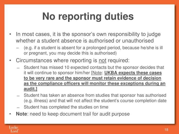 No reporting duties