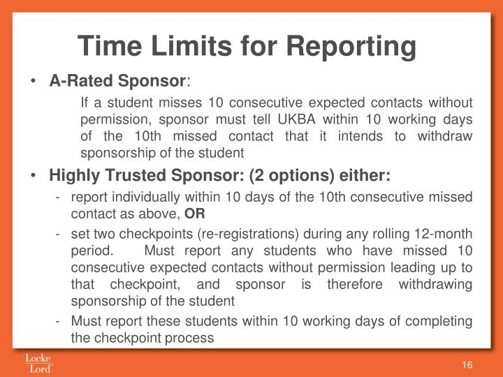 Time Limits for Reporting