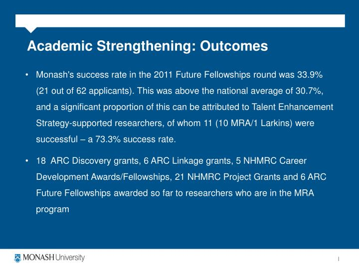 Academic Strengthening: Outcomes