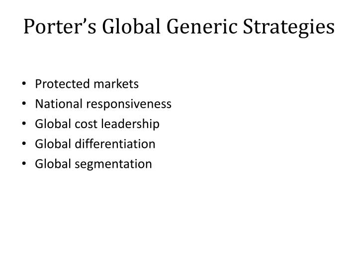 Porter's Global Generic Strategies