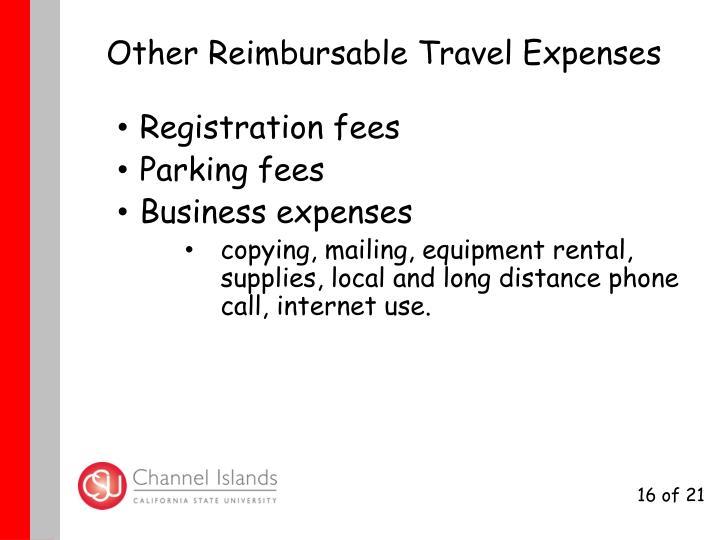 Other Reimbursable Travel Expenses
