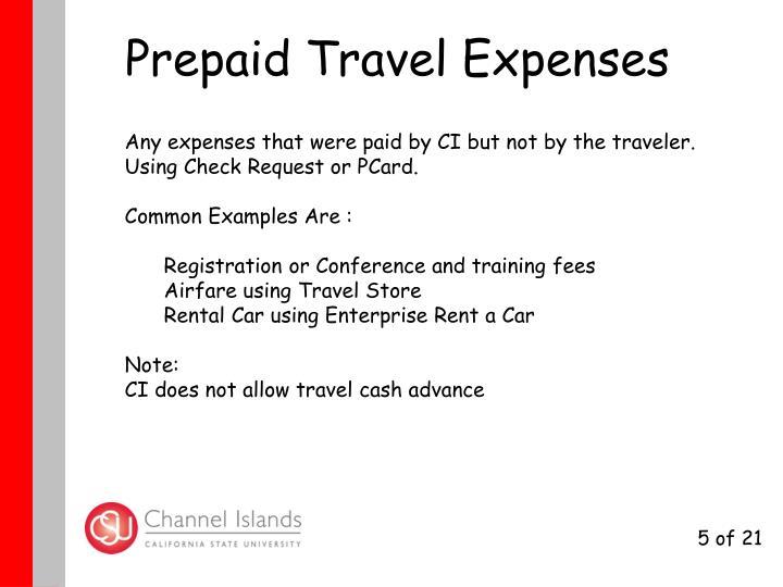 Prepaid Travel Expenses
