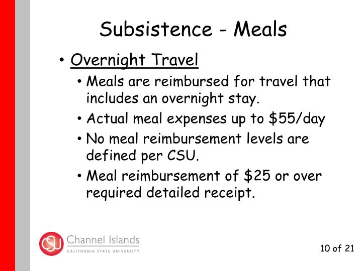 Subsistence - Meals