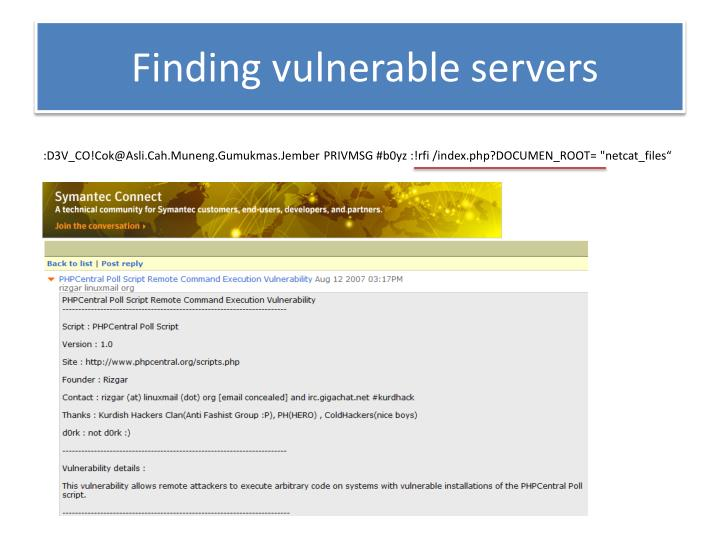 Finding vulnerable servers
