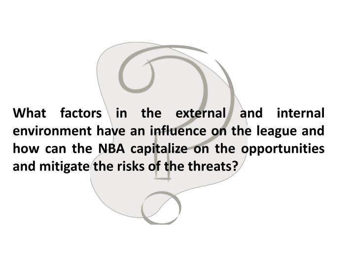 What factors in the external and internal environment have an influence on the league and how can the NBA capitalize on the opportunities and mitigate the risks of the threats?
