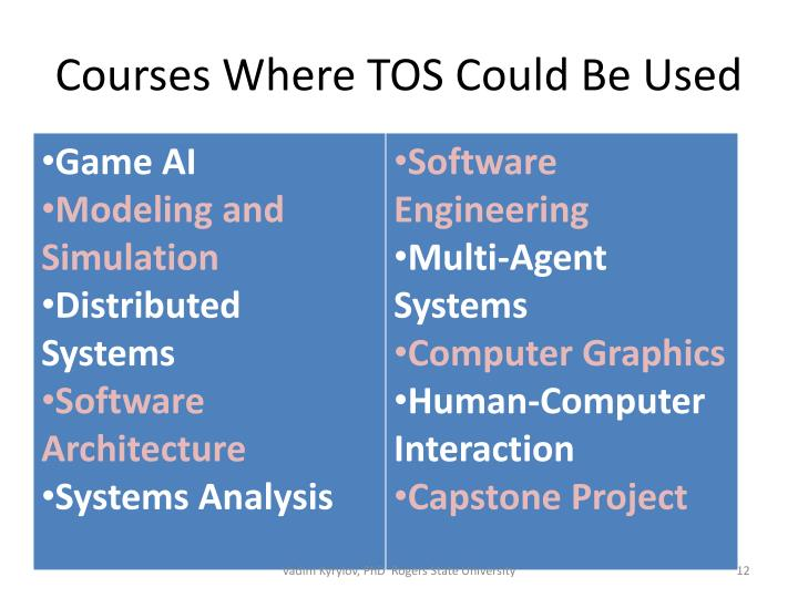 Courses Where TOS Could Be Used