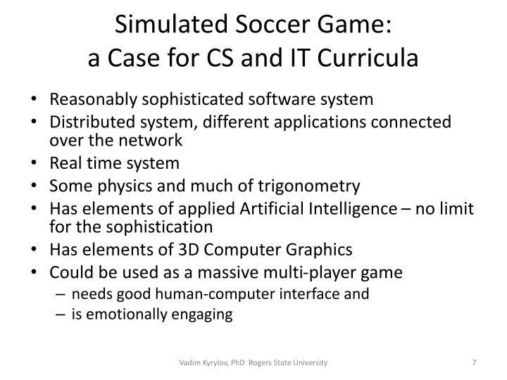 Simulated Soccer Game: