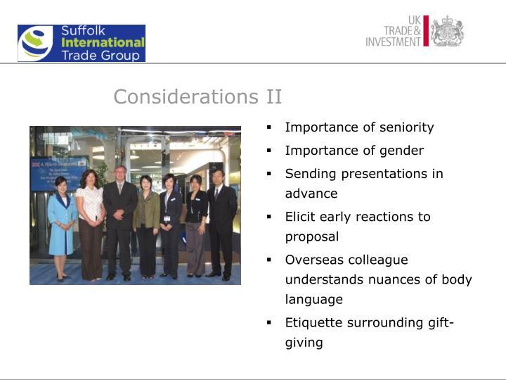 Considerations II