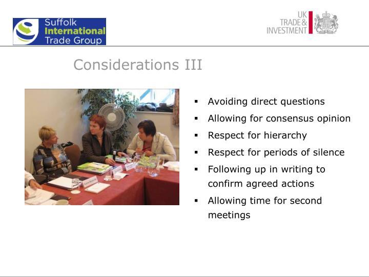 Considerations III