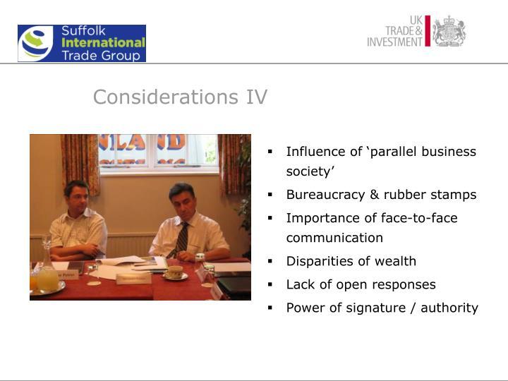 Considerations IV