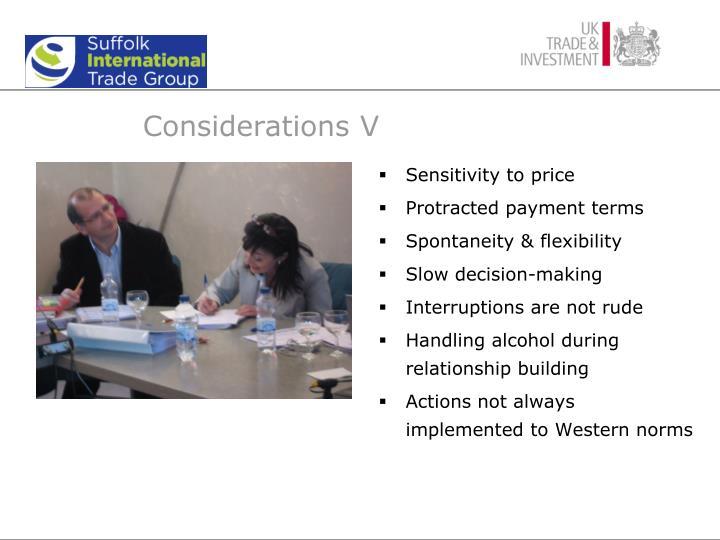 Considerations V
