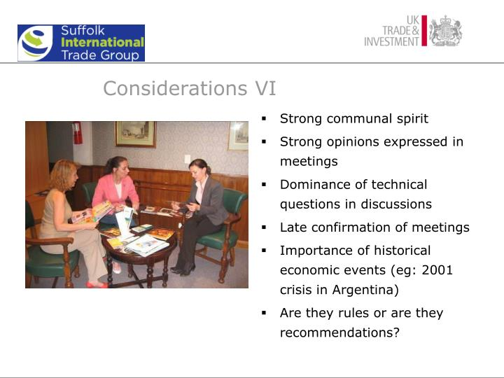 Considerations VI