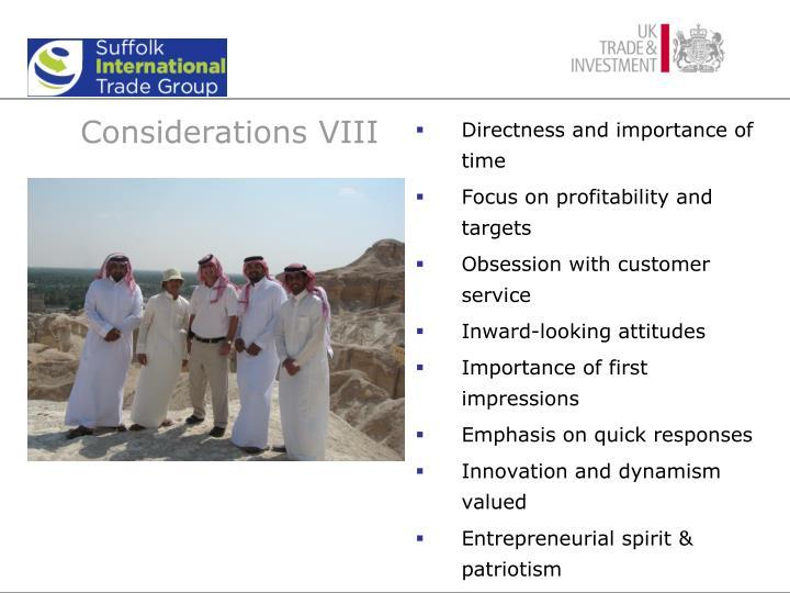 Considerations VIII