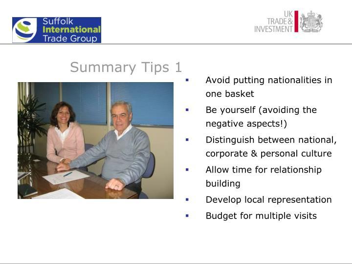 Summary Tips 1