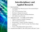 interdisciplinary and applied research