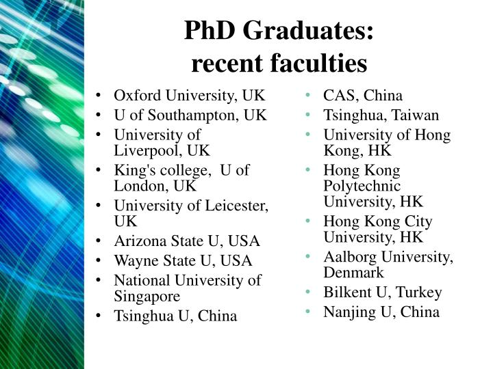 PhD Graduates: