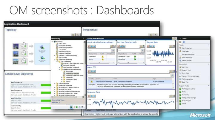 OM screenshots : Dashboards