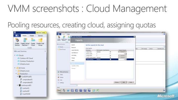 VMM screenshots : Cloud Management