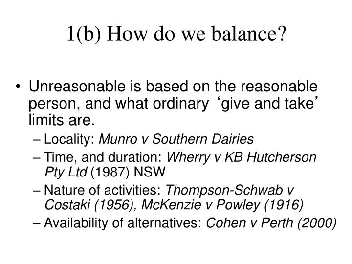 1(b) How do we balance?