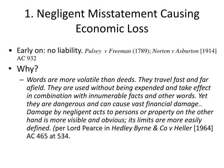 1. Negligent Misstatement Causing Economic Loss