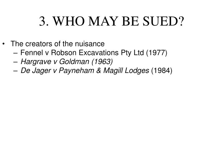 3. WHO MAY BE SUED?