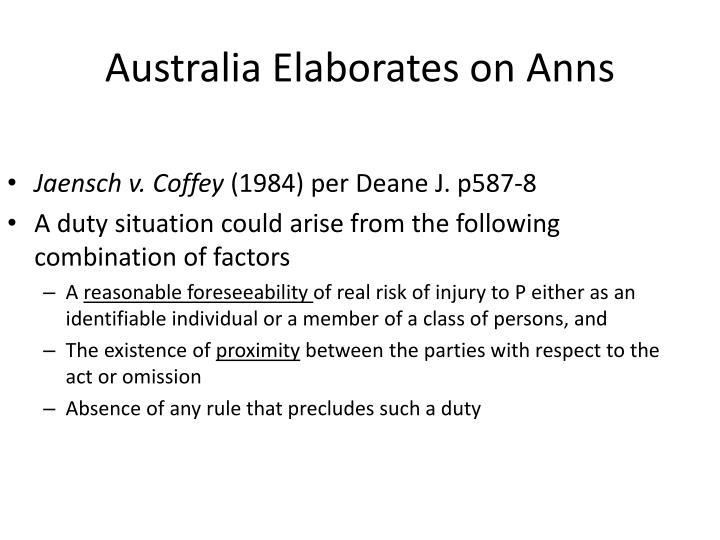 Australia Elaborates on