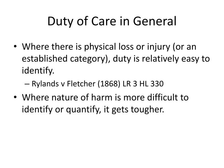 Duty of Care in General