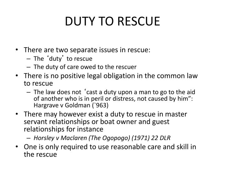 DUTY TO RESCUE