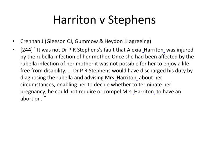 Harriton v Stephens