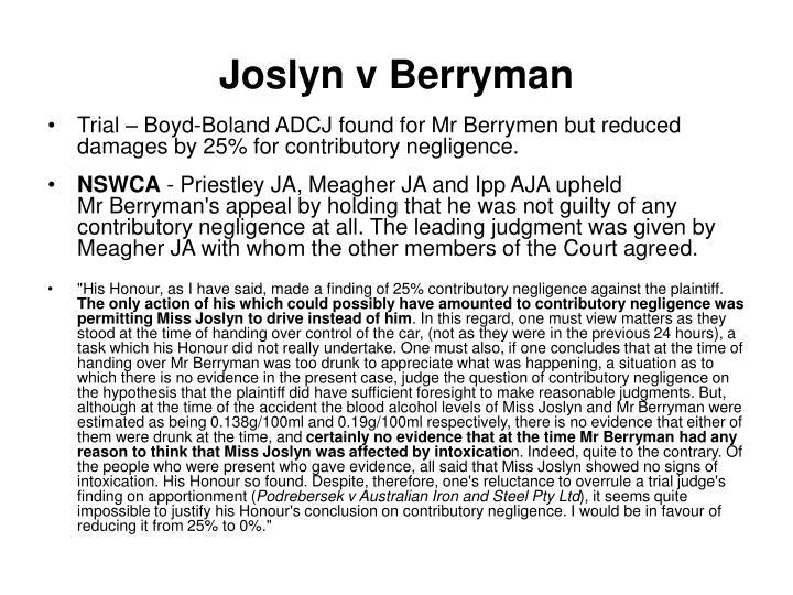 Joslyn v Berryman