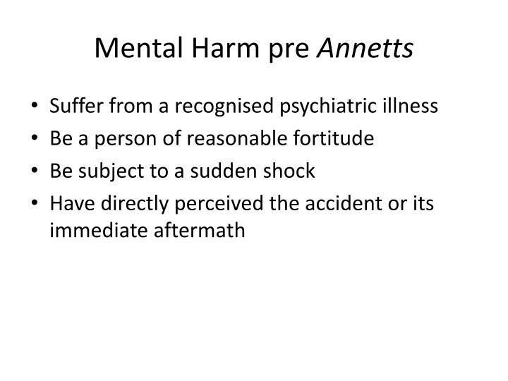 Mental Harm pre