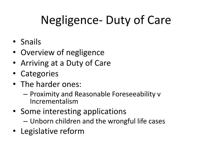 Negligence duty of care