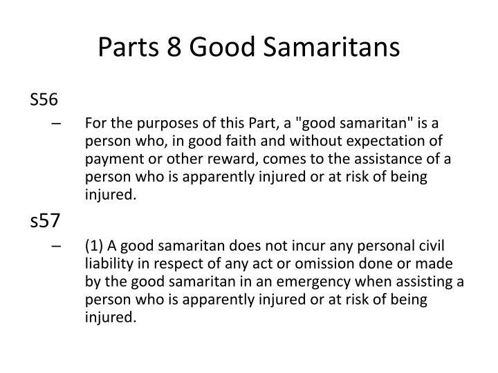 Parts 8 Good Samaritans