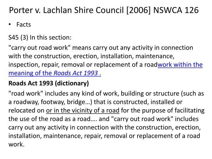 Porter v. Lachlan Shire Council [2006] NSWCA 126