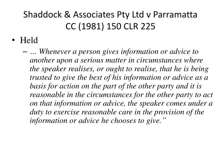 Shaddock & Associates Pty Ltd v Parramatta CC (1981) 150 CLR 225