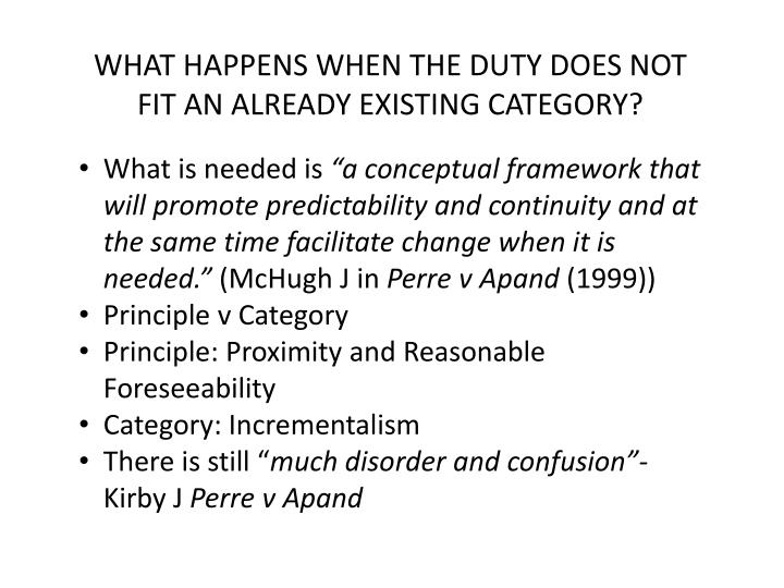 WHAT HAPPENS WHEN THE DUTY DOES NOT FIT AN ALREADY EXISTING CATEGORY?