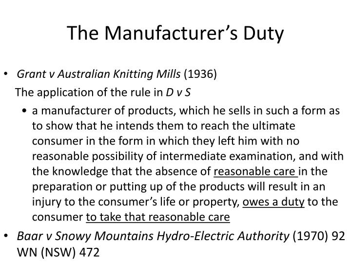 The Manufacturer's Duty