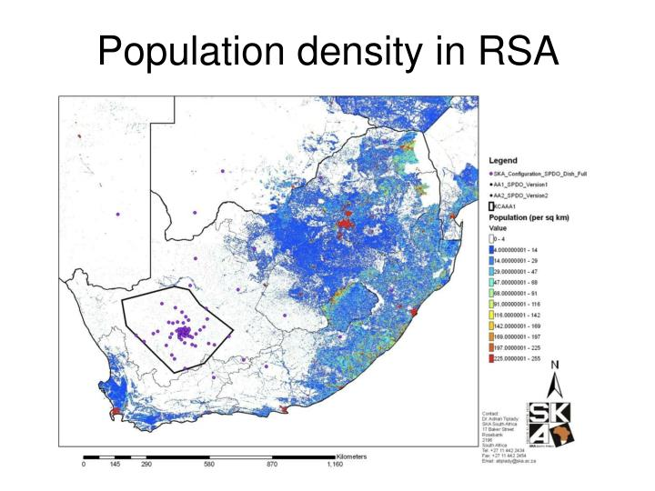 Population density in RSA