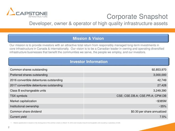 Corporate snapshot developer owner operator of high quality infrastructure assets