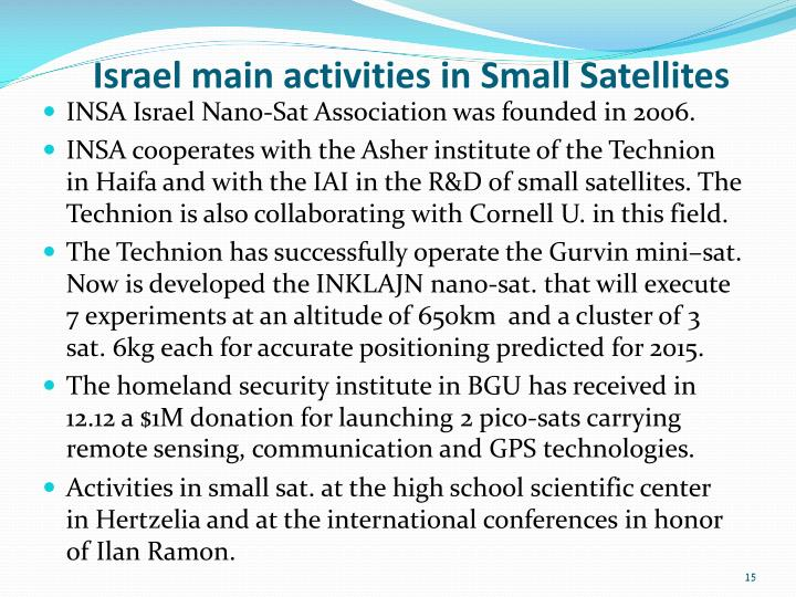 Israel main activities in Small Satellites