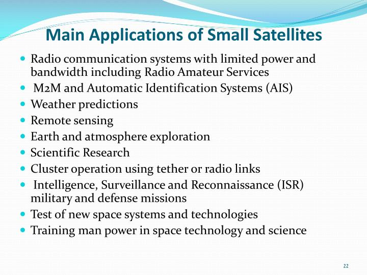 Main Applications of Small Satellites