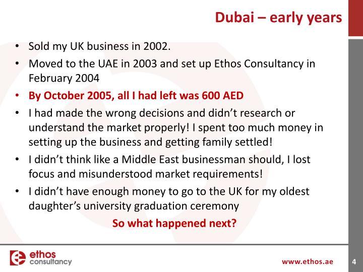 Dubai – early years